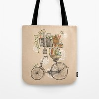 sketch Tote Bags featuring Pleasant Balance by florever