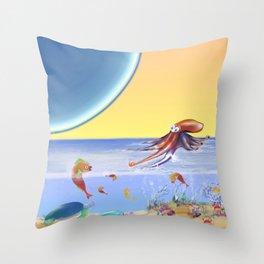 Sealife Family Childrens Illustration Throw Pillow