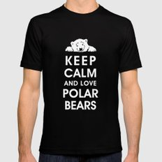 Keep Calm and Love Polar Bears Mens Fitted Tee Black X-LARGE