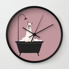Llama in Bathtub Wall Clock