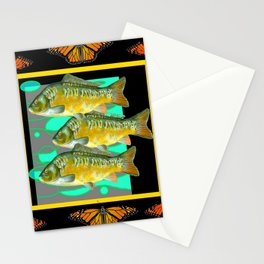 MODERN  MONARCH BUTTERFLIES FISH BLACK  AQUATIC  COLLAGE Stationery Cards