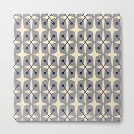 Mid Century Modern Star Pattern 541 Gray Metal Print
