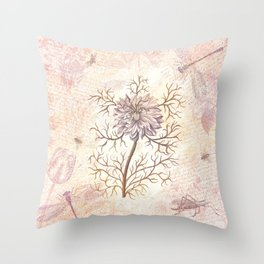 Vintage Flowers and Dragonflies Throw Pillow