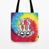 hippy Tote Bags featuring Hippy by Top Head Culture