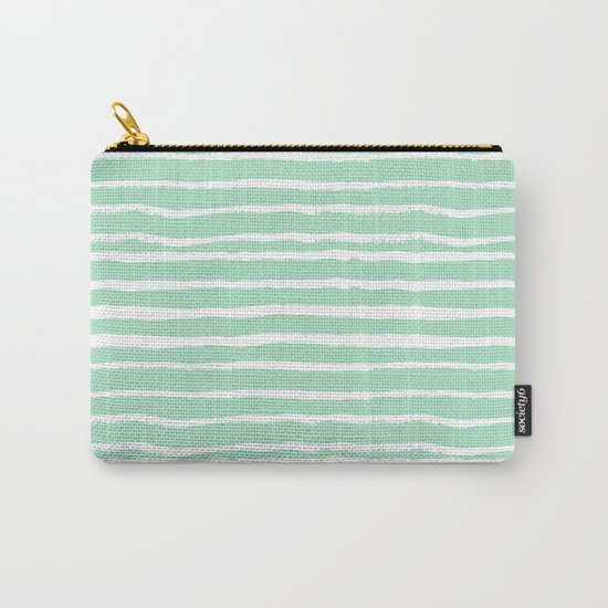 Mint stripes painted stripe pattern minimal nursery gender neutral Carry-All Pouch