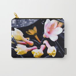 black and white leaves pink yellow white flowers jasmine Carry-All Pouch