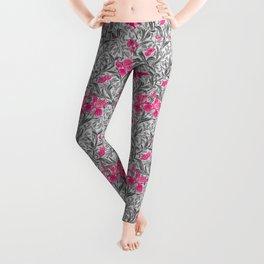 William Morris Irises, Pink and Silver Gray / Grey Leggings