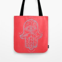 hamsa Tote Bags featuring Hamsa by Grace Anderson