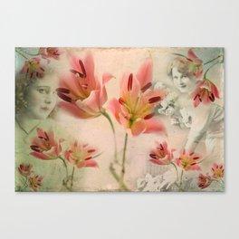 Hidden under the flowers Canvas Print
