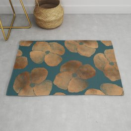Abstract Metal Copper Flowers on Emerald Rug