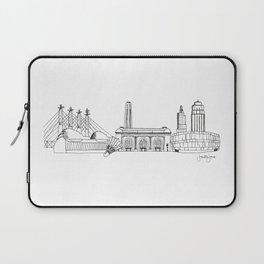 Kansas City Skyline Illustration Black Line Art Laptop Sleeve