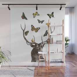 The Stag and Butterflies Wall Mural