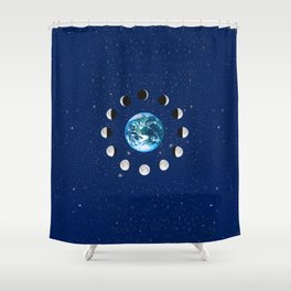 Earth and Moon Phases, on a Background of Stars Shower Curtain
