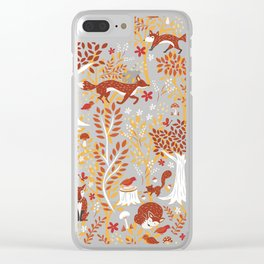 Foxes in a Forest of Fall Trees Clear iPhone Case