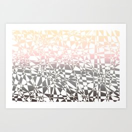Iridescent, pink to gray, delicate geometric shapes pattern Art Print