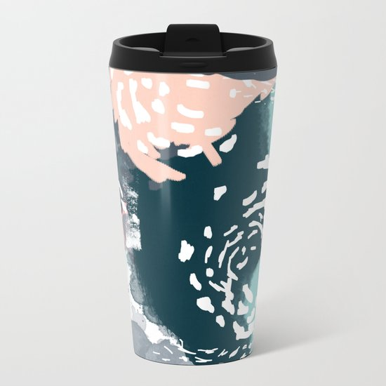 August - Abstract modern painting in bold colors for trendy feminine style Metal Travel Mug