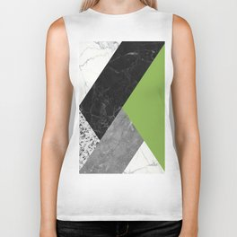 Black and White Marbles and Pantone Greenery Color Biker Tank