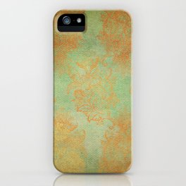 Grunge Garden Canvas Texture:  Gold and Green Baroque Nature Print iPhone Case