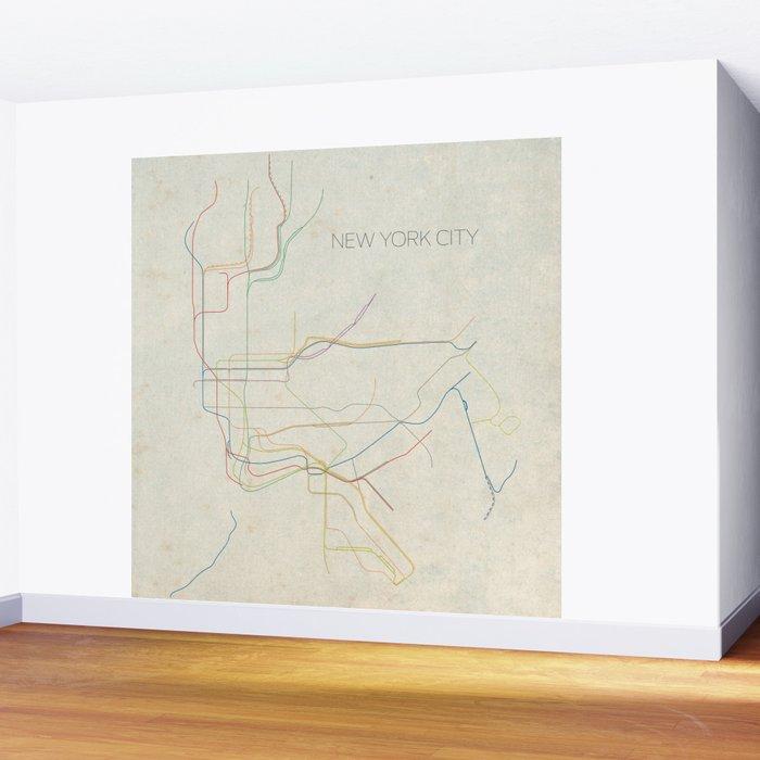 New York City Subway Map Wall Paper.Minimal New York City Subway Map Wall Mural