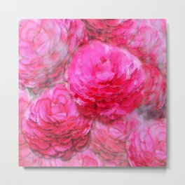 Painterly Pink Zinnia Watercolor Metal Print