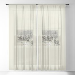 Nothern winter scene with Dogs and Reindeers team Sheer Curtain