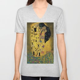 Curly version of The Kiss by Klimt Unisex V-Neck