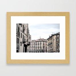 Major Square of Segovia Drawing in Spain Framed Art Print