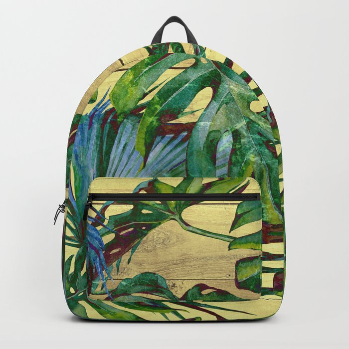 Tropical Palm Leaves on Wood Backpack