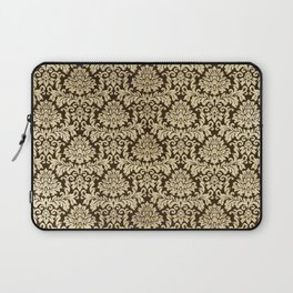 Elegant brown faux gold vintage floral damask Laptop Sleeve