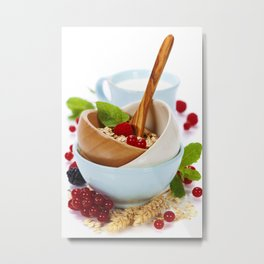 bowl of oat flake, berries and fresh milk on white background Metal Print