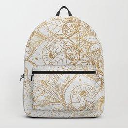 Trendy Gold Floral Mandala Marble Design Backpack
