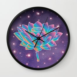 Blue Rainbow Lotus Holly Flower in Universe Wall Clock