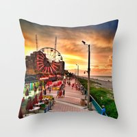 boardwalk empire Throw Pillows featuring Boardwalk  by Justin Alan Casey
