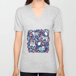 Spring Joy // navy blue background pale blue lambs and donkeys coral and teal garden Unisex V-Neck