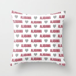 Alabama bama crimson tide typography state college university pattern footabll Throw Pillow