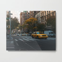 Taxi on a Street in New York Metal Print