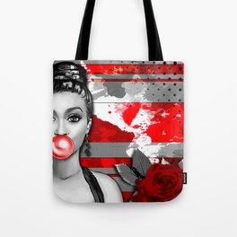 Trash Polka Retro Pinup Girl & Red Rose Tote Bag