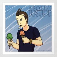 ace attorney Art Prints featuring Apollo Justice: Attorney at Law by Kryptocow