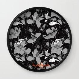 Monochrome wild rose 66 Wall Clock