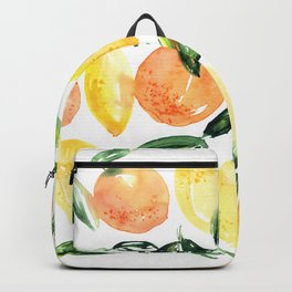 Sicilian orchard: lemons and oranges in watercolor, summer citrus Backpack