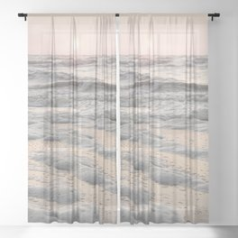 Pastel Tones Ocean In Holland Photo | Dutch Coast Seafoam And Waves Art Print | Travel Photography Sheer Curtain