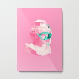 Athena statue ready for a snorkel Metal Print