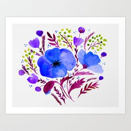 Flower bouquet with poppies - blue and purple Art Print