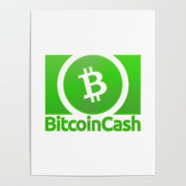 Bitcoin Cash BCH Green 1 With Sand Effect Logo Poster