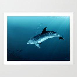 """Blackfin the Dolphin"" by Amber Marine ~ Digital Art, (Copyright 2014) Art Print"