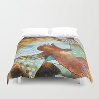 "flora bowley Duvet Covers featuring ""Two Hearts"" Original Painting by Flora Bowley by Flora Bowley"