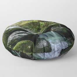 Flowing Creek, Green Mossy Rocks, Forest Nature Photography Floor Pillow