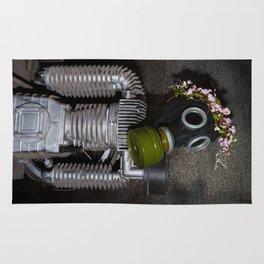Household robot with gasmask Rug