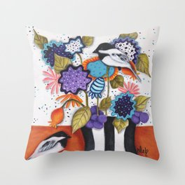 Chickadee Garden Floral Throw Pillow