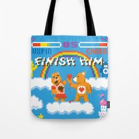 carnage Tote Bags featuring Care Bear Carnage by Jude Buffum